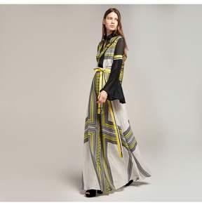 Amanda Wakeley   Printed Crepe De Chine Maxi Dress   Xl   Yellow