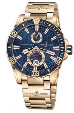 Ulysse Nardin Maxi Marine Diver Blue Dial 18K Rose Gold Men's Watch 266-10-8M-93