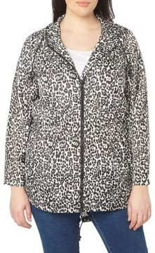 Evans Plus Size Women's Leopard Print Hooded Jacket