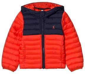 Joules Orange and Navy Packaway Puffer Coat