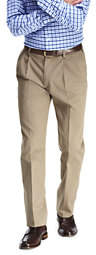 Lands' End Men's Pleat Front Tailored Fit No Iron Twill Dress Pants-Iron Heather