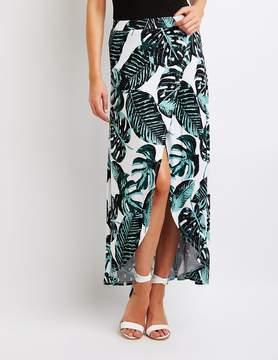Charlotte Russe Palm Print Wrap Maxi Skirt