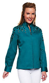 Bob Mackie Bob Mackie's Square Jeweled EmbellishedDenim Jacket