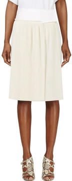 Calvin Klein Collection Beige Spun Silk Micro Pleated Vives Wrap Skirt