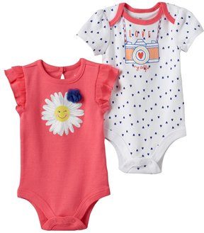 Baby Starters Baby Girl 2-pk. Flower Graphic & Heart Print Bodysuits