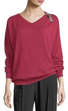 Brunello Cucinelli Cashmere V-Neck Monili-Strap Sweater