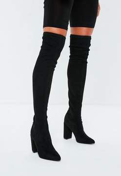 Missguided Black Faux Suede Over The Knee Boots