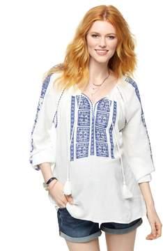A Pea in the Pod Split Neckline Embroidered Maternity Blouse- White