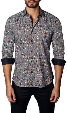 Jared Lang Men's Trim Fit Skull & Bow Ties Sport Shirt