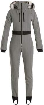 Fendi Fur-trimmed striped ski jumpsuit