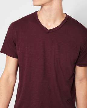 7 For All Mankind Short Sleeve Raw V-Neck Tee in Dark Burgundy