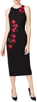 Betsey Johnson Embroidered Rose Scuba Midi Dress