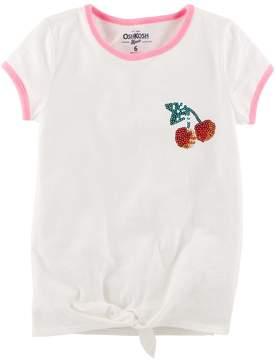 Osh Kosh Oshkosh Bgosh Girls 4-12 Life Is Sweet Slubbed Graphic Knot Tee