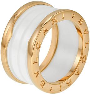 Bvlgari B.Zero1 4 Band 18K Pink Gold White Ceramic Ring - Size 10.5