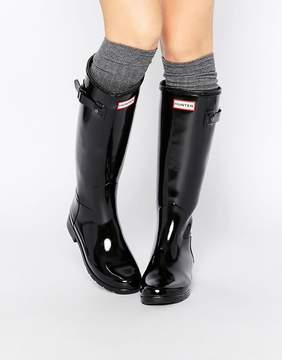 Hunter Refined Black Gloss Tall Wellington Boots
