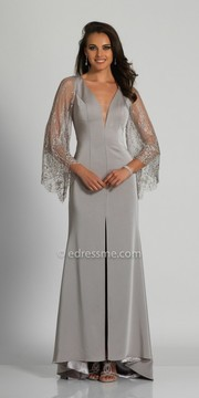 Dave and Johnny Long Sleeve Lacey Cutout Evening Dress