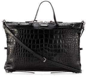 Saint Laurent Military ID embossed-leather tote - BLACK - STYLE