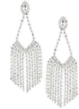Cezanne Rhinestone Fringe Chandelier Statement Earrings