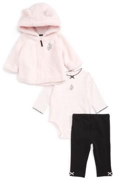 Little Me Infant Girl's Ballet Fleece Hoodie, Bodysuit & Leggings Set