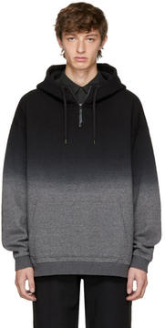 Robert Geller Black and Grey Dip-Dyed Hoodie