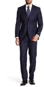 English Laundry Navy Windowpane Two Button Notch Lapel Wool Suit