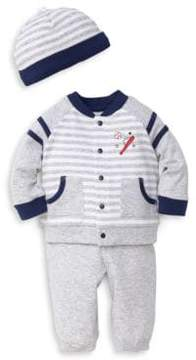 Little Me Baby Boy's Three-Piece Cotton Baseball Cardigan, Pants and Beanie Set
