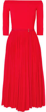 Alexander McQueen Off-the-shoulder Ribbed Jersey And Plissé-chiffon Midi Dress - Red