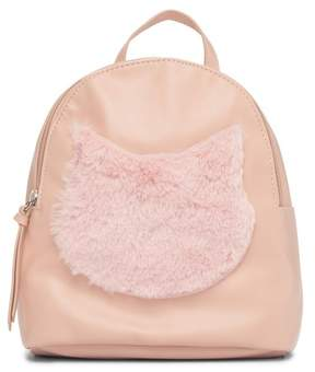 T-Shirt & Jeans Mini Faux Fur Cat Face Backpack