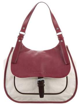 Longchamp Canvas Leather-Trimmed Hobo