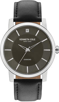 Kenneth Cole New York Men's Kenneth Cole Diamond-Accent Black Leather Strap Watch 44mm KC15114005
