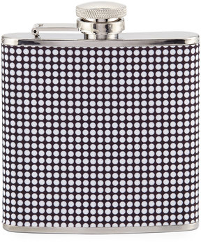 Neiman Marcus Dotted Stainless Steel Flask, Black/Multi