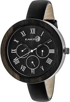 Earth Wood Brush Dark Brown Multi-Function Ladies Watch