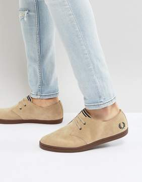 Fred Perry Byron Low Suede Sneakers in Beige
