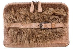 Henry Beguelin Shearling-Trimmed Clutch