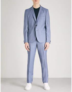 HUGO Sharkskin-pattern tailored-fit wool suit