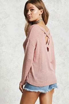 FOREVER 21 Slub Knit Caged-Back Sweater
