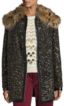 Marc Jacobs Hammered-Sequin Coat with Fur Collar