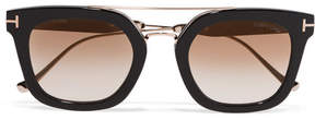Tom Ford Square-frame Acetate And Gold-tone Sunglasses - Black