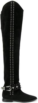 Toga Embellished Suede Over-the-knee Boots