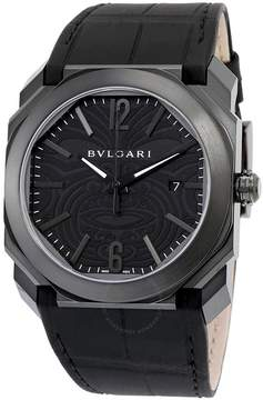 Bvlgari Octo Solotempo Black Maori tattoo Patterned Dial Men's Watch