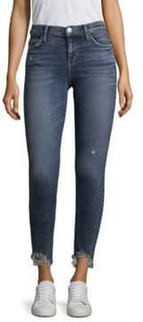 Current/Elliott Stiletto Distressed Hem Medium-Wash Skinny Jeans
