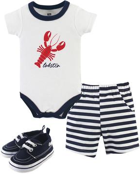 Hudson Baby White Lobster Bodysuit Set - Newborn & Infant