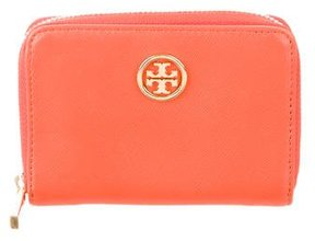 Tory Burch Leather Zip Cardholder - ORANGE - STYLE