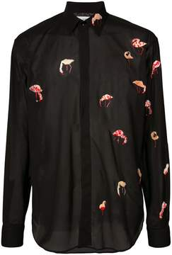Saint Laurent sheer flamingo embroidery shirt