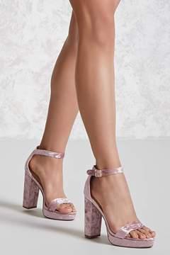 FOREVER 21 Crushed Velvet Platform Heels