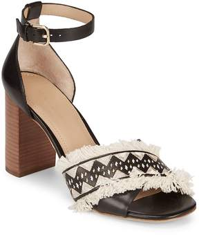 Pour La Victoire Women's Fringed Stacked Block Leather Sandals