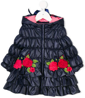 Miss Blumarine rose patches padded coat