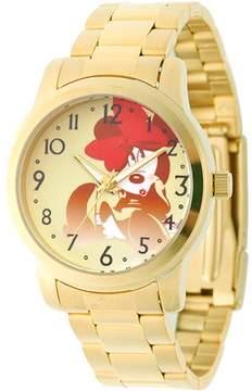 Disney Minnie Mouse Men's Casual Alloy Case Watch, Gold Bracelet
