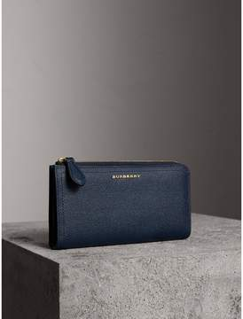 Burberry Grainy Leather Ziparound Wallet - BLUE CARBON - STYLE