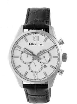 Heritor Benedict Silver Dial Black Leather Strap Automatic Men's Watch
